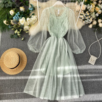 Dress Summer 2020 Pink, black, gray, apricot, green Average size Middle-skirt Two piece set Long sleeves commute V-neck High waist Solid color Socket Big swing puff sleeve Others 18-24 years old Type A lady Stitching, buttons, mesh, lace 31% (inclusive) - 50% (inclusive) Lace other
