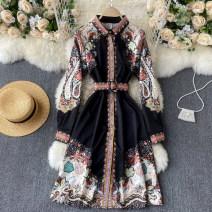 Dress Autumn 2020 black M,L,XL Middle-skirt singleton  Long sleeves commute Polo collar High waist other Socket A-line skirt routine Others 18-24 years old Type A Korean version 31% (inclusive) - 50% (inclusive) other other