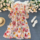 Dress Summer 2020 Yellow, dark blue, apricot, black, white, pink flowers on black background Average size longuette singleton  Long sleeves commute stand collar High waist Decor Socket Big swing puff sleeve Others 18-24 years old Type A Korean version 31% (inclusive) - 50% (inclusive) other other