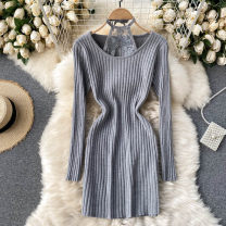 Dress Spring 2021 Black, grey, apricot Average size Short skirt singleton  Long sleeves commute Crew neck High waist Solid color Socket One pace skirt routine Others 18-24 years old Type X Korean version 31% (inclusive) - 50% (inclusive) other other