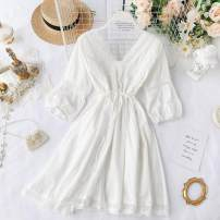 Dress Spring 2020 white Average size Short skirt singleton  three quarter sleeve commute V-neck High waist Solid color Socket A-line skirt puff sleeve Others 18-24 years old Type A Korean version Cut out, lace up 31% (inclusive) - 50% (inclusive) other other