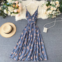 Dress Summer 2020 50. One size fits all longuette singleton  Sleeveless commute V-neck High waist Decor Socket Big swing camisole 18-24 years old Type A Korean version backless 31% (inclusive) - 50% (inclusive) other other