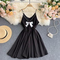 Dress Summer 2021 White, black Average size Short skirt singleton  commute V-neck High waist Solid color Socket A-line skirt camisole 18-24 years old Type A Korean version bow 31% (inclusive) - 50% (inclusive) other other