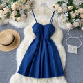 Dress Summer 2020 Dark blue, light blue Average size Short skirt singleton  commute square neck High waist Solid color Socket A-line skirt camisole 18-24 years old Type A Korean version 31% (inclusive) - 50% (inclusive) other other