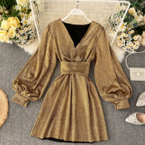 Dress Spring 2020 Silver, gold Average size Short skirt singleton  Long sleeves commute V-neck High waist Solid color Socket A-line skirt puff sleeve Others 18-24 years old Type A Korean version Frenulum 31% (inclusive) - 50% (inclusive) other other