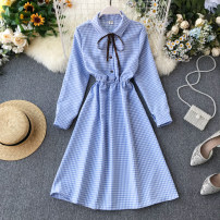 Dress Spring 2020 Blue, black, pink, yellow, purple Average size Short skirt singleton  Long sleeves commute Polo collar High waist lattice Socket A-line skirt shirt sleeve Others 18-24 years old Korean version Lace up, button 31% (inclusive) - 50% (inclusive) other other