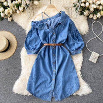 Dress Spring 2021 Dark blue, light blue Average size Short skirt singleton  Short sleeve commute Slant collar High waist Solid color Single breasted A-line skirt puff sleeve Others 18-24 years old Type A Korean version 31% (inclusive) - 50% (inclusive) other other