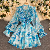 Dress Autumn 2020 blue Average size Short skirt singleton  Long sleeves commute Crew neck High waist Solid color Socket A-line skirt puff sleeve Others 18-24 years old Type A Korean version fungus 31% (inclusive) - 50% (inclusive) other other