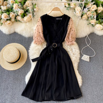 Dress Spring 2021 black S,M,L,XL,2XL Short skirt singleton  Long sleeves commute V-neck High waist Solid color Socket A-line skirt routine Others 18-24 years old Type A Korean version 31% (inclusive) - 50% (inclusive) other other