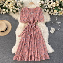 Dress Spring 2021 Black, white, apricot, blue, light yellow, pink, watermelon red, yellow, yellow flower with blue background Average size Middle-skirt singleton  Short sleeve commute V-neck High waist Decor Socket A-line skirt routine Others 18-24 years old Type A Korean version other other