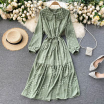 Dress Spring 2021 Black, apricot, green Average size Mid length dress singleton  Long sleeves commute Doll Collar High waist Solid color Socket A-line skirt puff sleeve Others 18-24 years old Type A Korean version Frenulum 31% (inclusive) - 50% (inclusive) other other