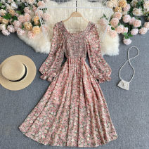 Dress Spring 2021 Purple, watermelon red S,M,L Middle-skirt singleton  Sleeveless commute square neck High waist Broken flowers Socket A-line skirt puff sleeve Others 18-24 years old Type A Korean version 31% (inclusive) - 50% (inclusive) other other