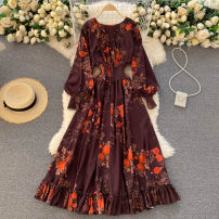 Dress Spring 2021 Dark brown Average size longuette singleton  commute Crew neck High waist Decor Socket Big swing puff sleeve Others 18-24 years old Type A Korean version 31% (inclusive) - 50% (inclusive) other other