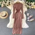Dress Autumn 2020 Light brown S,M,L Middle-skirt singleton  Long sleeves commute Crew neck High waist Solid color Socket A-line skirt routine Others 18-24 years old Type A Korean version 31% (inclusive) - 50% (inclusive) other other