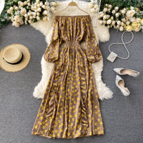 Dress Autumn 2020 Average size Mid length dress singleton  Long sleeves commute One word collar High waist Broken flowers Socket A-line skirt puff sleeve Others 18-24 years old Type A Korean version Lotus leaf edge 31% (inclusive) - 50% (inclusive) other other