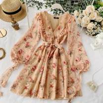 Dress Summer 2020 Picture color Average size Short skirt singleton  Long sleeves commute V-neck High waist Decor Socket A-line skirt puff sleeve Others 18-24 years old Type A Korean version Bow tie 30% and below Chiffon other