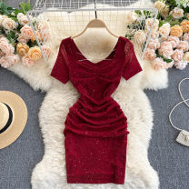 Dress Summer 2021 Black, red M, L Short skirt singleton  Short sleeve commute square neck High waist Solid color Socket A-line skirt routine Others 18-24 years old Type A Korean version 31% (inclusive) - 50% (inclusive) other other