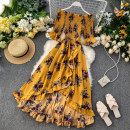 Dress Summer 2020 Dark blue, pink, yellow, white, red, sky blue, khaki, light blue, plum red, yellow background blue, black bottom blue, black bottom white, white bottom red flower, foundation white flower, yellow bottom white flower. Average size Mid length dress singleton  elbow sleeve commute