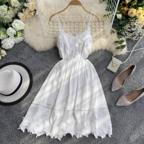 Dress Summer 2020 white S,M,L Short skirt singleton  Sleeveless commute Crew neck High waist zipper A-line skirt other camisole 18-24 years old Type A Korean version 30% and below other other