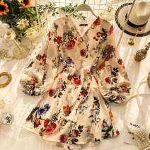 Dress Spring 2020 Apricot Average size Short skirt singleton  Long sleeves commute V-neck High waist Decor other A-line skirt puff sleeve Others 18-24 years old Type A Korean version Frenulum 31% (inclusive) - 50% (inclusive) other other