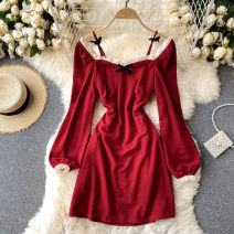 Dress Autumn 2020 Black, red M, L Short skirt singleton  Long sleeves commute square neck High waist Solid color Socket A-line skirt puff sleeve Others 18-24 years old Type A Korean version Lace 31% (inclusive) - 50% (inclusive) other other