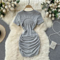 Dress Summer 2021 Gray, black, white Average size Short skirt singleton  Short sleeve commute Crew neck High waist Solid color Socket A-line skirt routine Others 18-24 years old Type A Korean version 31% (inclusive) - 50% (inclusive) other other