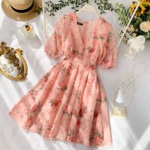 Dress Summer 2020 Pink saffron Average size Short skirt singleton  Short sleeve commute V-neck High waist Decor Socket A-line skirt puff sleeve Others 18-24 years old Type A Korean version zipper 30% and below other other