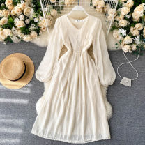 Dress Autumn 2020 Apricot, white M, L Mid length dress singleton  Long sleeves commute V-neck High waist Solid color Socket A-line skirt puff sleeve Others 18-24 years old Type A Korean version 31% (inclusive) - 50% (inclusive) other other