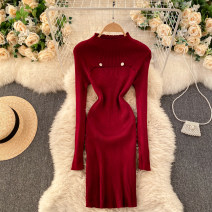 Dress Spring 2021 Black, white, red, dark brown Average size Short skirt singleton  Long sleeves commute stand collar High waist Solid color Socket One pace skirt routine Others 18-24 years old Type X Korean version 31% (inclusive) - 50% (inclusive) other other
