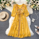 Dress Summer 2020 Dark blue, red, yellow, white Average size Mid length dress singleton  Long sleeves commute V-neck High waist Solid color Socket A-line skirt puff sleeve Others 18-24 years old Type A Korean version 31% (inclusive) - 50% (inclusive) other other