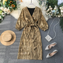 Dress Autumn 2020 Black, silver, gold Average size Middle-skirt singleton  Long sleeves commute V-neck High waist Solid color Socket A-line skirt puff sleeve Others 18-24 years old Type A Korean version Frenulum 31% (inclusive) - 50% (inclusive) other other