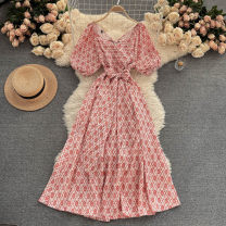 Dress Summer 2021 gules Average size Mid length dress singleton  Short sleeve commute V-neck High waist other Socket A-line skirt puff sleeve Others 18-24 years old Type A Korean version 31% (inclusive) - 50% (inclusive) other other