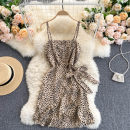 Dress Spring 2021 White, black, khaki Average size Short skirt singleton  commute square neck High waist Leopard Print Socket A-line skirt camisole 18-24 years old Type A Korean version 31% (inclusive) - 50% (inclusive) other other