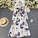 Dress Spring 2021 white Average size Mid length dress singleton  Long sleeves commute Polo collar High waist Decor Single breasted Big swing routine Others 18-24 years old Type A Korean version 31% (inclusive) - 50% (inclusive) other other