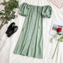 Dress Summer 2020 Black, white, yellow, light green, orange Average size Short skirt singleton  Short sleeve commute One word collar High waist Solid color Socket A-line skirt puff sleeve Others 18-24 years old Type A Korean version 30% and below Chiffon