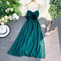 Dress Summer 2020 Green, red, violet, orange, white, blue, black One size, L size Mid length dress singleton  Sleeveless commute V-neck High waist Solid color Socket camisole 18-24 years old Type A Korean version backless 31% (inclusive) - 50% (inclusive)