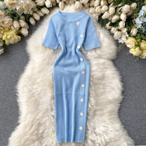 Dress Summer 2020 Black, sky blue, pink, fluorescent green, gray, red, khaki Average size Mid length dress singleton  Short sleeve commute Crew neck High waist Solid color Socket One pace skirt routine Others 18-24 years old Type X Korean version Button, button 31% (inclusive) - 50% (inclusive) other
