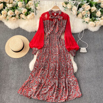 Dress Spring 2021 Red, pink, khaki, black, yellow, Burgundy Average size longuette singleton  Long sleeves commute Crew neck High waist Decor Socket A-line skirt puff sleeve Others 18-24 years old Type A Korean version Splicing 31% (inclusive) - 50% (inclusive) other other