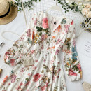 Dress Summer 2020 Decor on white background Average size Short skirt singleton  Long sleeves commute V-neck High waist Decor Socket A-line skirt other Others 18-24 years old Type A Korean version Button, zipper 30% and below other other