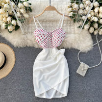 Dress Spring 2021 Black, white Average size Short skirt singleton  commute square neck High waist Solid color Socket A-line skirt camisole 18-24 years old Type A Korean version Bowknot, stitching 31% (inclusive) - 50% (inclusive) other other