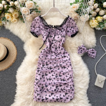 Dress Summer 2020 Blue, purple S,M,L Short skirt Two piece set Short sleeve commute square neck High waist other Socket other puff sleeve Others 18-24 years old Type X Korean version Pleated, lace up, stitched, printed 31% (inclusive) - 50% (inclusive) other other