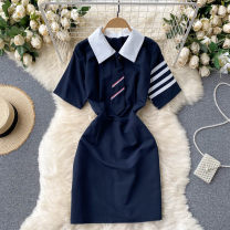 Dress Summer 2021 Dark blue, light blue M, L Short skirt singleton  Short sleeve commute Polo collar High waist Solid color Socket A-line skirt routine Others 18-24 years old Type A Korean version 31% (inclusive) - 50% (inclusive) other other