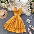 Dress Summer 2020 S,M,L Short skirt singleton  Sleeveless commute V-neck High waist Solid color zipper Ruffle Skirt camisole 18-24 years old Type A Korean version Open back, Ruffle 31% (inclusive) - 50% (inclusive) other other