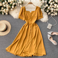 Dress Spring 2021 black , white , yellow , green , red S,M,L Short skirt singleton  Short sleeve commute square neck High waist Solid color Socket Big swing routine Others 18-24 years old Type A Korean version 31% (inclusive) - 50% (inclusive) other other