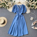 Dress Spring 2021 black , blue , green , Watermelon red M,L,XL Middle-skirt singleton  Short sleeve commute V-neck High waist Solid color Socket A-line skirt routine Others 18-24 years old Type A Korean version 31% (inclusive) - 50% (inclusive) other other