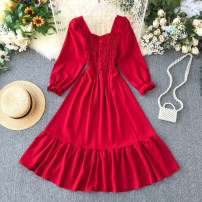 Dress Spring 2020 Red, black, white Average size Short skirt singleton  Long sleeves commute square neck High waist Solid color other A-line skirt puff sleeve Others 18-24 years old Type A Korean version Pleats, buttons 31% (inclusive) - 50% (inclusive) other other