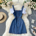 Dress Summer 2020 Dark blue, light blue M, L Short skirt singleton  Short sleeve commute square neck High waist Solid color Socket A-line skirt camisole 18-24 years old Type A Korean version Splicing 31% (inclusive) - 50% (inclusive) other other