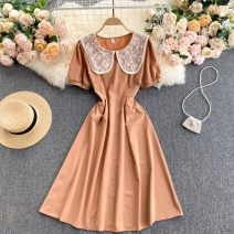 Dress Spring 2021 Average size Middle-skirt singleton  Short sleeve commute Crew neck High waist Solid color Socket A-line skirt routine Others 18-24 years old Type A Korean version 31% (inclusive) - 50% (inclusive) other other