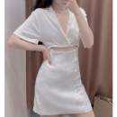 Dress Summer 2021 white XS,S,M,L Short skirt Fake two pieces Short sleeve Sweet V-neck middle-waisted Solid color Socket A-line skirt routine 18-24 years old Type A 51% (inclusive) - 70% (inclusive) other hemp Ruili