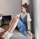 Quick drying suit 51-100 yuan M suggests 80-105 kg, l 105-120 kg, XL 120-135 kg, 2XL 135-150 kg, 3XL 150-170 kg Blue lace stitched denim dress Summer 2020 1 ℃ only - III / degree unique - I female